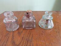 2 Antique Ink Bottle Spool Style Ink Wells Cobalt Blue & Brown Glass FJ7
