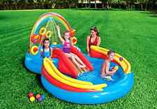 "New Summer Rainbow Ring Inflatable Pool Play Center 117"" X 76"" X 53"" for Ages 2+"
