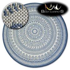 MODERN NATURAL SISAL blue round RUG 'FLAT' PRACTICAL Carpet FlatWeave easy clean