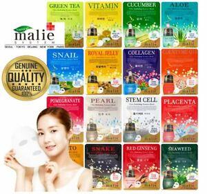 5 Pcs Malie Korean Face Mask Sheet Pack Facial Mask Moisture Skin UK Seller NEW