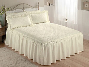 Plain Classic Fitted Throw Bedspread Set lightly quilted pastel colours UK Made
