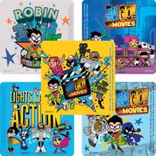 Teen Titans GO! Stickers x 5 - Birthday Party Favours Loot Bags - Square Design