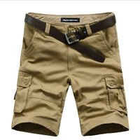 Mens Cotton Solid Multi-Pocket Cargo Shorts Relaxed Short Pants Work Trousers SZ