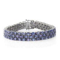 "925 Sterling Silver Blue Tanzanite Triple Row Bracelet Gift Size 7.25"" Ct 22.4"