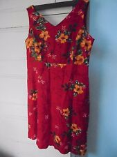 ERIKA Sze L dress Linen & Rayon sleeveless floral RED perfect cute