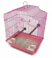 New listing Hanging Bird Cage Kit Set Perches Swing Feeders Scalloped Top Small Bird Pink