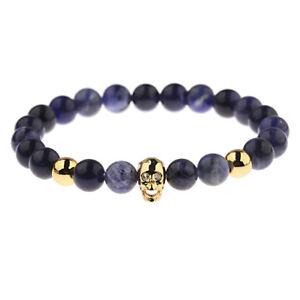 Zircon Ghost Skull Head Navy Blue Natural Stone Charm Bracelets For Women Men