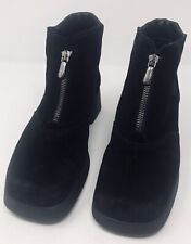 AQUATALIA by Marvin K. Black Suede Ankle Boots Front Zip Size 7US Made in Italy