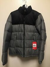 Mens The North Face Vintage  Nuptse Jacket TNF Grey Heather TNF Black Sz Medium