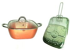 Copper Square Deep Pan,12 Inch, Induction Base Glass Lid,Fry Basket,Steam Rack,