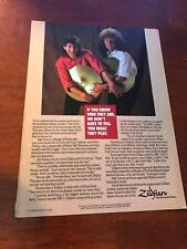 1988 VINTAGE 8X11 PRINT AD FOR ZILDJIAN CYMBALS TOMMY ALDRIDGE+SIMON PHILLIPS
