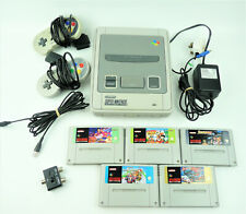 Super Nintendo SNES Console Bundle + 2 Controllers, Leads + 5 Games - Working.