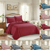 3 PCS Quilted Bedspread Embossed Bed Throw Comforter Double King & Pillowcase UK