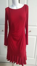 NEW RALPH LAUREN ELEGANT RED FIT STRETCH LONG SLEEVE RED DRESS SIZE 6