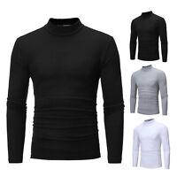 Mode Hommes Rouleau Polo Col Roulé Sweatshirt Pulls Décontracté Slim M-2XL