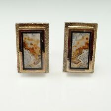 Picture Agate Gold Plated Sterling Silver Cufflinks Cuff Links Mens 925 1970s