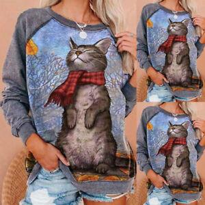 Women's CAT Print Sweatshirt T-shirt Tops Long Sleeve Loose Pullover Jumper Top