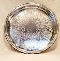 """Vintage Wm. Rogers Pierced and Roped edge Silver Plated Tray 15"""" #672"""