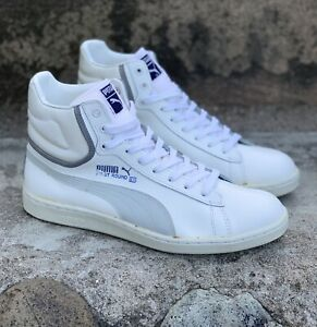 Vintage 80s Puma First Round EX Shoes White Leather Taiwan 100% Authentic US 9.5