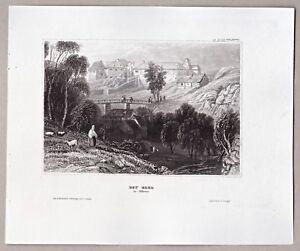 Cheb, Eger, Tschechien, Böhmen - Burgansicht - Original Stahlstich um 1845
