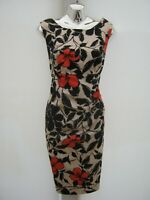 Belle By Oasis Ruched Sleeveless Floral Knee Length Lined Occasion Dress Size 14