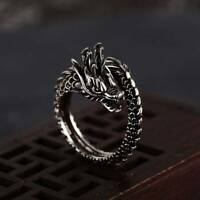 1pc Fashion Adjustable Silver Plated Dragon Ring Men Women Opening Rings