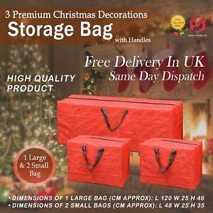 Large Heavy Duty XMAS CHRISTMAS TREE Home 3 STORAGE BAG Zip Sack Holder RED SUL