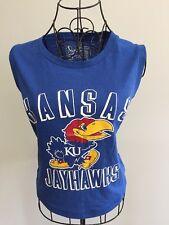 Kansas University Jayhawks Mascot KU KS NCAA Ladies LG Blue Cropped Tank Top NEW