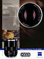 1 Zeiss Prospekt Datenblatt Kamera Objektiv Makro Planar T 2/100 2010 brochure