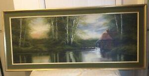 Very Large Vintage Landscape Oil Painting Framed And Signed David A James
