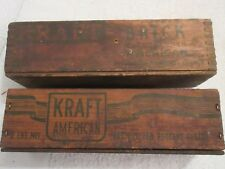 vintage wood cheese boxes Kraft Brick & Kraft American lot GC