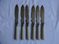 VINTAGE SILVER PLATED EPNS SET OF FISH KNIVES X 6 Silver Bands  LENGTH 20 cm