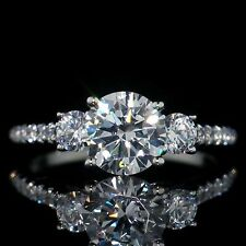 Engagement Ring 14K Solid White Gold Over New listing 1.80 Ct Round Three Stone Moissanite