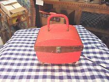 vintage singer sewing case red weave pattern wooden legs bit rough