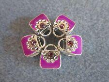 5PCs Silver/P February Birthday Purple Rhinestone Handbag Purse European Charms