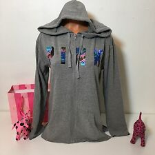PINK Victorias Secret Tropical Logo Hoodie Full Zip Sweatshirt Size XS Gray