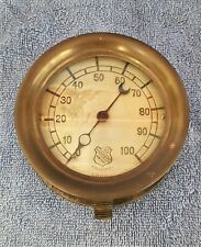 VINTAGE ASHCROFT BRASS & CAST IRON PRESSURE GAUGE 0-100 PSI STEAMPUNK