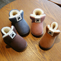 Kids Boys Girls Warm Boots Shoes Toddler Baby Plush Soft Sole Snow Booties Shoe