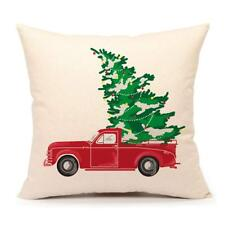 4Th Emotion Red Truck with Christmas Tree Vintage Home Decorations Throw Pill.