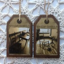 5 **NEW** Handcrafted PRIm Wooden SHAKER ART Hang Tags / Ornaments Set4