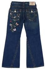 TRUE RELIGION Girls JOEY Jeans Embroidered Butterfly Distressed Boot Cut 7 LKNW