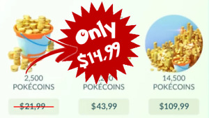 PokeCoins | 2.500 Pokemon Go Coins for only $14.99!