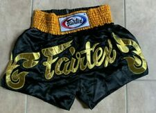 Fairtex Black w/ Gold Drawstring Waistband Boxing Shorts L Large