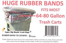 Super Extra Large RUBBER BANDS Tie-Downs for 64/65/68/70/80 Gallon Trash Carts