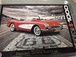 Driving Down Route 66 1000 Piece Jigsaw Puzzle 1959 Corvette Classic Car