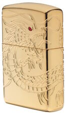 """Zippo Armor Lighter """"Gold Plated Chinese Dragon Crystal Eye"""" No 29265 - New"""