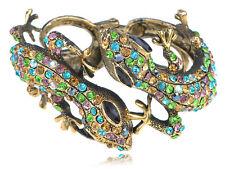 Antique Golden Multicolored Rhinestones Colorful Lizard Gecko Cuff Bracelet New