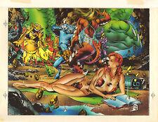 Phoenix on Monster Island - Over Steve Lightle - 1993 color art by Mark McNabb Comic Art