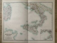 1912 SOUTH ITALY LARGE ANTIQUE COLOURED MAP BY JOHNSTON