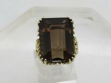 LARGE 10k Yellow Gold 20x15mm Emerald CUT Brown Smokey Topaz Ring Size 8.25